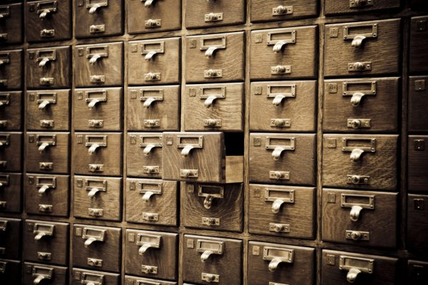 old fashioned library card catalogue