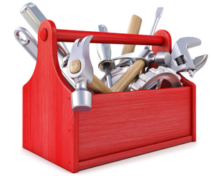 red tool box full of tools