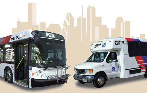 a Houston Metro bus and a paratransit vehicle