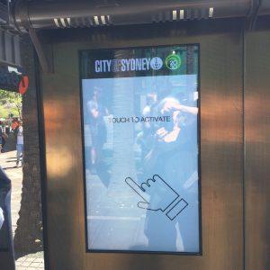 flat screen kiosk in Sydney harbor