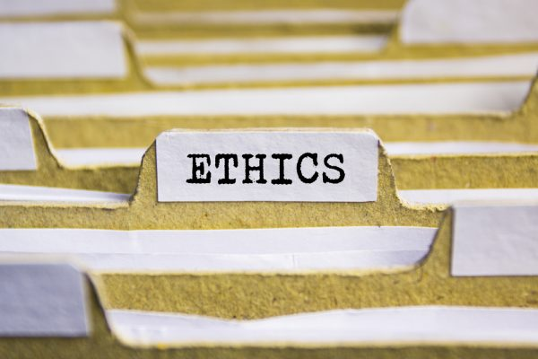 file folder labeled ETHICS
