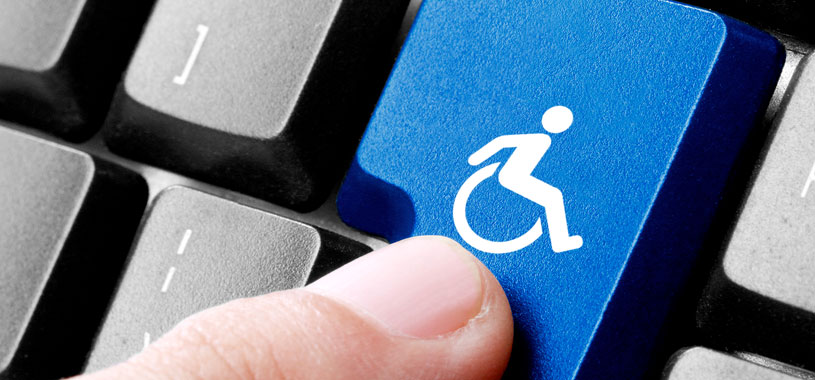 computer tab key with wheelchair rider icon