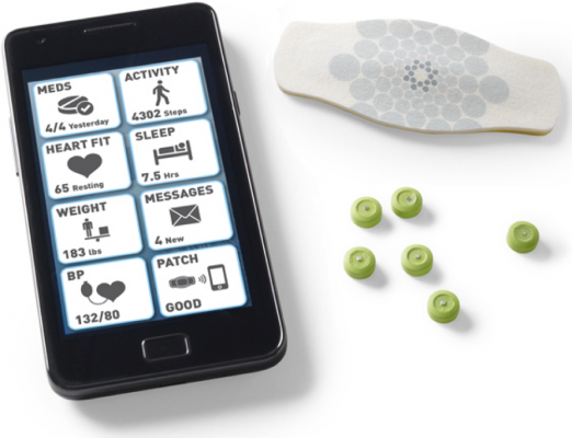 ingestible with skin patch and mobile app screen