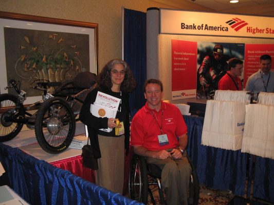 Lainey and Bank of America spokesperson at B of A booth at CSUN approximately 2003