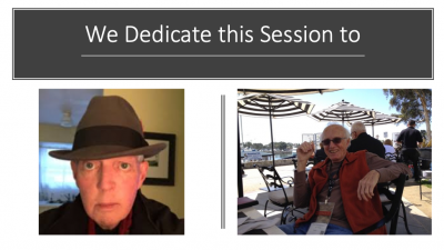 "images of Jim Thatcher and Joseph O'Connor under the title ""We dedicate this session to"""
