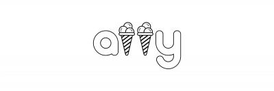 "the word a11y with ice cream cones instead of the ""ls"""